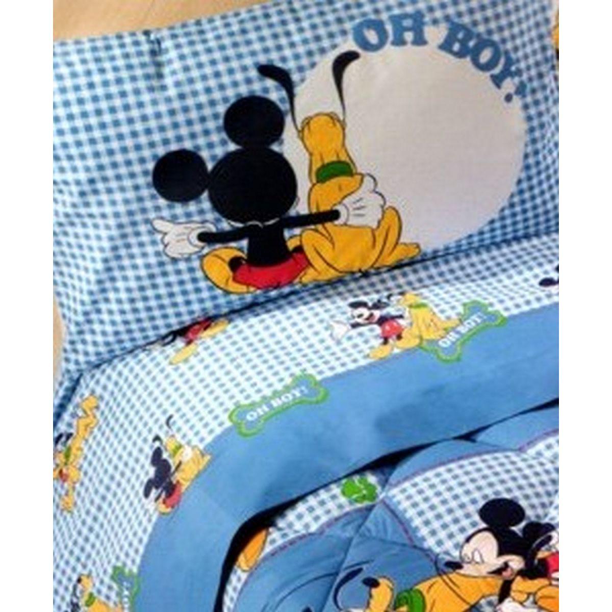 Mickey Pluto Completo Lenzuola Flanella Singolo Caleffi Disney 3815